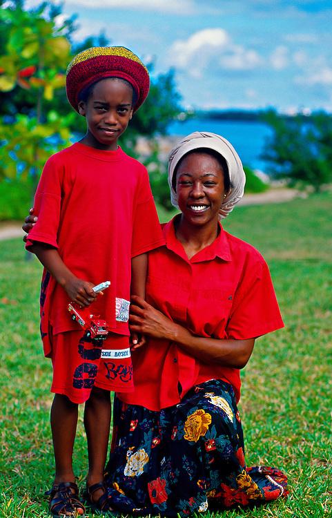 Bermudian mother and son, Somerset, Bermuda