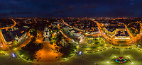 Aerial view of Kaliningrad cityscape during the night, Russia
