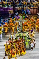 Carnaval parade of Academicos da Rocinha samba school in the Sambadrome, Rio de Janeiro, Brazil.