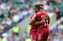 Joe Marchant of Harlequins celebrates his first half try with team-mate Dave Ward - Mandatory byline: Patrick Khachfe/JMP - 07966 386802 - 02/09/2017 - RUGBY UNION - Twickenham Stadium - London, England - London Irish v Harlequins - Aviva Premiership