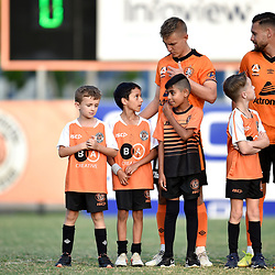 BRISBANE, AUSTRALIA - NOVEMBER 7: Jai Ingham and Jesse Daley of the Roar enter the field during the friendly match between Eastern Suburbs FC and Brisbane Roar FC at Heath Park on November 7, 2020 in Brisbane, Australia. (Photo by Patrick Kearney)