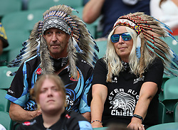 """File photo dated 26-06-2021 of A general view of fans before the Gallagher Premiership final at Twickenham Stadium, London. Rob Baxter has dismissed Wasps calling for a rugby-wide review on supporters wearing Native American headdresses as """"a bit of a non-story"""". Issue date: Wednesday October 13, 2021."""