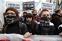 July 5, 2018 - Buenos Aires, Buenos Aires, Argentina - Telam, Argentina's national news agency, created in 1945, has dismissed 357 employees, almost 40 percent of its total personnel. Today, press workers and dismissed employees held a protest in the Downtown. (Credit Image: © Claudio Santisteban via ZUMA Wire)