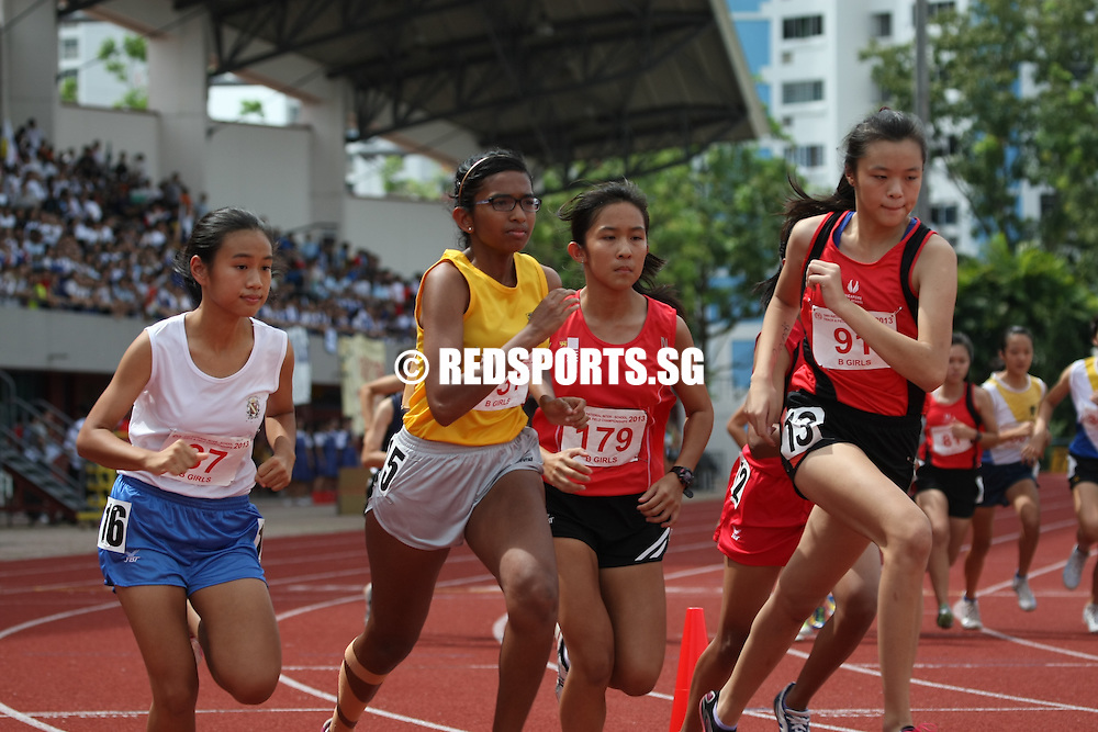 Choa Chu Kang Stadium, Wednesday, April 17, 2013 — Carys Hor of Nanyang Girls' High established herself as the middle distance queen in the school scene, completing her B Division 800 metres final in a time of 2 minutes 30 seconds at the 54th National Schools Track and Field Championships to win her third consecutive gold in the event.<br /> <br /> Story: http://www.redsports.sg/2013/04/20/b-div-800m-girls-carys-hor-nanyang-girls/