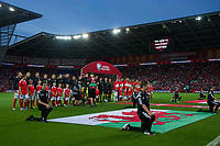 Football - 2017 / 2018 _Wales v Austria_FIFA World Cup Qualifier 2018<br /> <br /> The teams line up for the anthems--- at Cardiff City Stadium.<br /> <br /> COLORSPORT/WINSTON BYNORTH