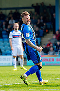 Gillingham FC midfielder Mark Byrne (33) scores a goal (1-1) and celebrates during the EFL Sky Bet League 1 match between Gillingham and Rochdale at the MEMS Priestfield Stadium, Gillingham, England on 30 March 2019.