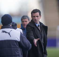 Alloa Athletic's manager Jack Ross at the end. <br /> Falkirk 2 v 0 Alloa Athletic, Scottish Championship game played 5/3/2016 at The Falkirk Stadium.