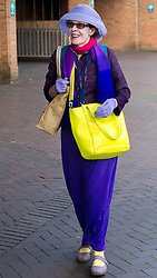 September 17, 2016 - London, England, United Kingdom - Image ©Licensed to i-Images Picture Agency. 17/09/2016. London, United Kingdom.  A woman wearing clothes in the colours of UKIP arrives for the second day of the conference in Bournemouth. Picture by i-Images (Credit Image: © i-Images via ZUMA Wire)