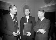 18/2/1966<br /> 2/18/1966<br /> 18 February 1966<br /> <br /> Mr. P.J. Gough General Manager Bolands Bakery chatting with Mr. Martin Colley T.D. Minister for Education and Mr. Redmond J. Murphy Chairman of Bolands Ltd at the reception
