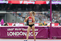 Athletics - 2017 IAAF London World Athletics Championships - Day Two (AM Session)<br /> <br /> Event: High Jump Women - Heptathlon<br /> <br /> Geraldine Rucksthul (SUI)  clears the bar and gives a thumbs up <br /> <br /> COLORSPORT/DANIEL BEARHAM