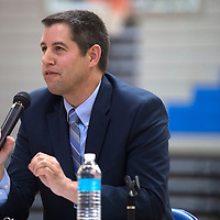 Mike Hyatt, Associate Superintendent for Gallup McKinley County Schools, answers a question about how to handle bullying in the schools during the superintendents candidate forum at  Zuni high School in Zuni Thursday.