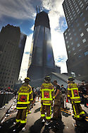 Fire fighters at the Tunnel to Tower race, under Financial Center as part of 9/11/01, Memorial events. 9/25/11. New York City, USA.