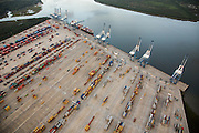 Aerial view of the Wando Welch shipping container port in Mt Pleasant, SC