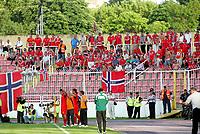 Fotball , 6. juni 2009 VM-kvalifisering , Norge - Makedonia<br /> FYR Macedonia-Norway world cup qualifiers<br /> Norske fans, tilskuere , illustrasjon<br /> Norway - Macedonia