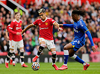 Football - 2021 / 2022 Pre-Season Friendly - Manchester United vs Everton - Old Trafford - Saturday 7th August 2021<br /> <br /> Andreas Pereira of Manchester United takes on Alex Iwobi of Everton, at Old Trafford.<br /> <br /> COLORSPORT/ALAN MARTIN