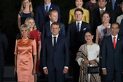 Brigitte Macron, French President Emmanuel Macron, Donald Tusk, Giuseppe Conte, Canada's Prime Minister Justin Trudeau's wife Sophie Gregoire, wife of Joko Widodo and Indonesia's President Joko Widodo during family photo session on the first day of the G20 summit in Osaka, Japan on June 28, 2019. Photo by Jacques Witt/Pool/ABACAPRESS.COM