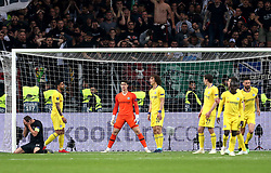 Eintracht Frankfurt's David Abraham (left) appears dejected after a missed shot at a goal during the UEFA Europa League Semi final, first leg match at The Frankfurt Stadion, Frankfurt.