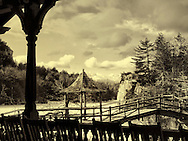 MARCH 13, 2011 - NEW PALTZ: Lake Mohonk and Mohonk Mountain House gazebo and silhouette porch in New Paltz, New York, in vintage ambrotype style