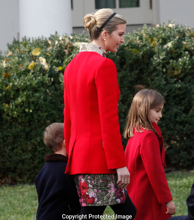 Presidential daughter Ivanka Trump and children at  the  pardon of the Thanksgiving turkey in the rose Garden on November 21,2017<br /> Photo by Dennis Brack