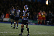 Matthew Morgan of Cardiff Blues. Guinness Pro14 rugby match, Cardiff Blues v Dragons at the Cardiff Arms Park in Cardiff, South Wales on Friday 6th October 2017.<br /> pic by Andrew Orchard, Andrew Orchard sports photography.