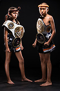Young Muay Thai champions at The Way of No Way martial arts academy in Woodland Hills, CA.