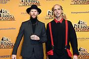 Premiere van de film Ron Goossens: Lowbudget Stuntman in Pathe Arena, Amsterdam.<br /> <br /> Op de foto:  Steffen Haars en Flip van der Kuil