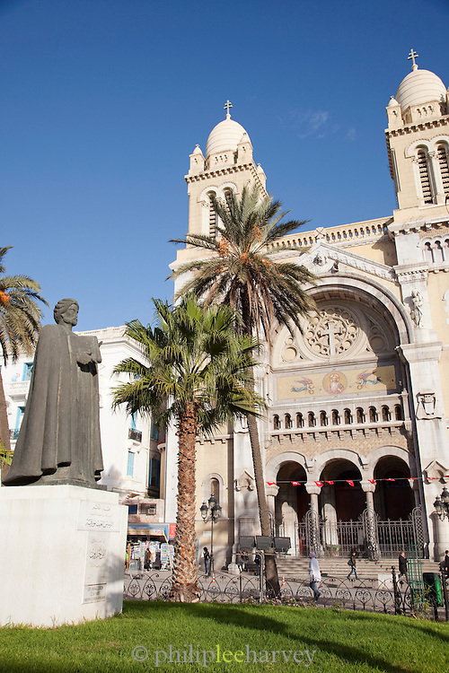 Statue of Ibn Khaldoun in Independence Square, outside Cathedral of St. Vincent de Paul, Tunis, Tunisia