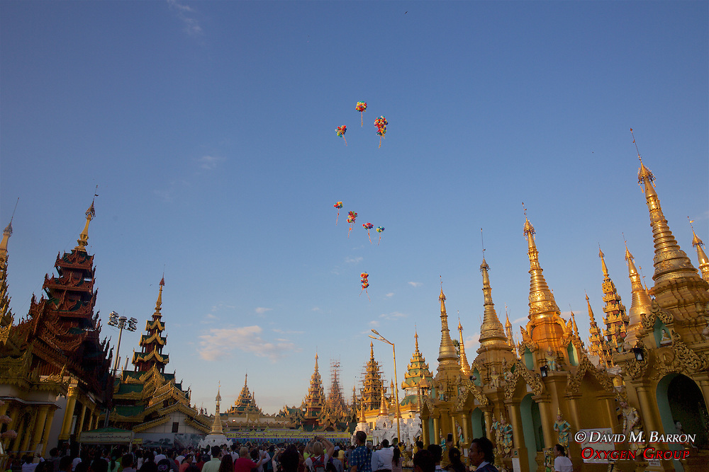 Balloons Being Released, Festival Of The Moon, Shwedagon Pagoda