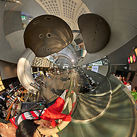 Kyoto Train Station Level Two -- Little Planet View (270 degree right). Composite of 44 images taken with a Leica CL camera and 18 mm f/2.8 lens (ISO 400, 18 mm, f/5.6, 1/60 sec). Raw images processed with Capture One Pro and AutoPano Giga Pro.