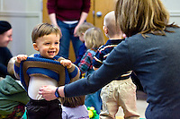 "LITCHFIELD, CT - 27 JANUARY 2009 -012709JT08-.FOR COUNTRY LIFE: Thatcher Wood, 13-months-old, plays with his grandmother Linda Timman during the ""Bouncing Babies"" reading program at Oliver Wolcott Library in Litchfield on Tuesday, Jan. 27. The program, which is open to children from 0-24 months, is every Tuesday beginning at 10:30 a.m. and consists of 20 minutes of story time followed by 15 minutes of play time. .Josalee Thrift / Republican-American"