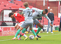 Blackburn Rovers' Lewis Holtby and Tosin Adarabioyo battle with Barnsley's Jacob Brown<br /> <br /> Photographer Dave Howarth/CameraSport<br /> <br /> The EFL Sky Bet Championship - Barnsley v Blackburn Rovers - Tuesday 30th June 2020 - Oakwell - Barnsley<br /> <br /> World Copyright © 2020 CameraSport. All rights reserved. 43 Linden Ave. Countesthorpe. Leicester. England. LE8 5PG - Tel: +44 (0) 116 277 4147 - admin@camerasport.com - www.camerasport.com