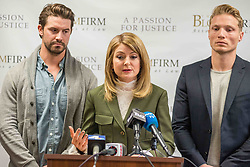 LOS ANGELES, USA - DECEMBER 5: Attorney Lisa Bloom talks as she stands beside Mark Ricketson (L) and Jason Boyce (R) during a press conference at the Bloom Firm in Los Angeles, California on December 5, 2017. Bloom's client, Jason Boyce, filed a lawsuit against photographer Bruce Weber alleging sexual harassment during a photoshoot in 2014. Justin L. Stewart / Anadolu Agency  | BRAA20171205_479 California Etats-Unis United States