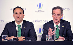 Taoiseach, Leo Varadkar (left) and Dick Spring Chairman, Ireland 2023 Oversight Board, during the 2023 Rugby World Cup host candidates presentations at the Royal Garden Hotel in London, where they are bidding to host the event against France and South Africa.