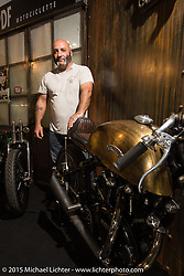 "Davide ""Frenky"" Francavilla of PDF Motociclette in Bergamo, Italy on his custom Vincent cafe racer at EICMA, the largest international motorcycle exhibition in the world. Milan, Italy. November 20, 2015.  Photography ©2015 Michael Lichter."
