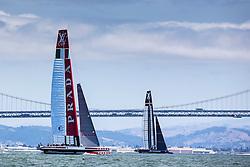 Artemis Racing (SWE) vs. Luna Rossa (ITA), Semi-final race two. ITA wins by 2:05. 7th of August, 2013, San Francisco, USA