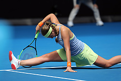 MELBOURNE, Jan. 15, 2018  Jelena Ostapenko of Latvia reacts during the women's singles first round match against Francesca Schiavone of Italy at Australian Open 2018 in Melbourne, Australia, Jan. 15, 2018. Ostapenko won 2-0. (Credit Image: © Li Peng/Xinhua via ZUMA Wire)