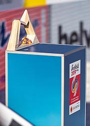 23.02.2019, Bergiselschanze, Innsbruck, AUT, FIS Weltmeisterschaften Ski Nordisch, Seefeld 2019, Skisprung, Herren, im Bild Der Siegerpokal der FIS Nordic World Ski Champions auf einem Podest // Der Siegerpokal der FIS Nordic World Ski Champions auf einem Podest during the Ski Jumping competition of FIS Nordic Ski World Championships 2019. Bergiselschanze in Innsbruck, Austria on 2019/02/23. EXPA Pictures © 2019, PhotoCredit: EXPA/ Stefanie Oberhauser