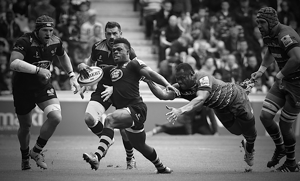 Christian Wade breaking through tackle
