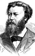 Paul Jablochkoff (1847-1914) Russian telegraph engineer c1883.  Jablochkoff invented the Jablochkoff candle, a carbon arc lamp. From 'Les Nouvelles Conquetes de la Science' by Louis Figuier. (Paris, 1883). Engraving.