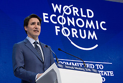 Prime Minister Justin Trudeau addresses the World Economic Forum Tuesday, January 23, 2018 in Davos, Switzerland. Trudeau says Canada and 10 other countries of the Trans-Pacific Partnership have agreed to a revised trade agreement. Photo by Paul Chiasson/CP/ABACAPRESS.COM