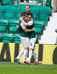 Hibernian's Liam Henderson (3) cele scoring their goal. <br /> half time : Hibernian 1 v 0 Alloa Athletic, Scottish Championship game played 12/9/2015 at Easter Road.