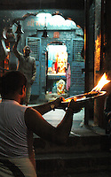 """India, Nasik, 2006. Nasik?s holiest place is the Ramkund, where each evening a public """"puja,"""" or Hindu cleansing ceremony takes place."""