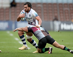 Steven Luatua of Bristol Bears is tackled by Ben Tapuai of Harlequins - Mandatory by-line: Matt Impey/JMP - 26/12/2020 - RUGBY - Twickenham Stoop - London, England - Harlequins v Bristol Bears - Gallagher Premiership Rugby