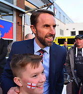 England manager Gareth Southgate arrives at the Vitality Stadium and has a picture with a young fan ahead of the U21 International match between England and Germany at the Vitality Stadium, Bournemouth, England on 26 March 2019.