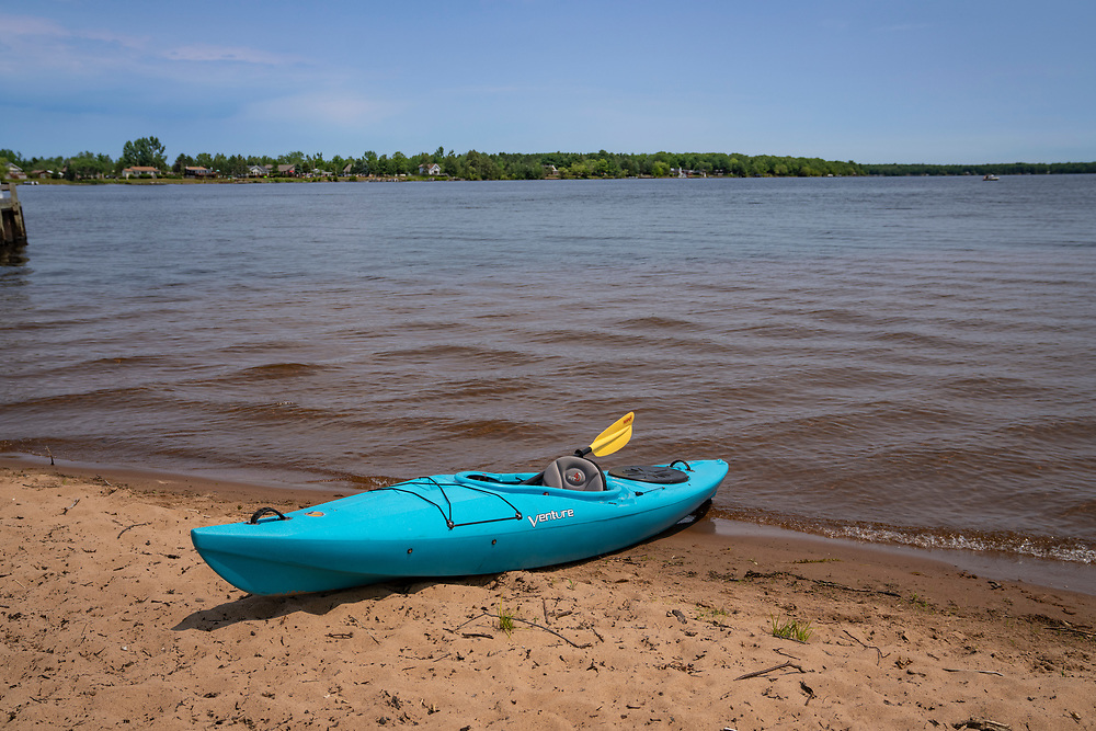 A kayak at Perkins Park on Lake Independence at Big Bay, Michigan.
