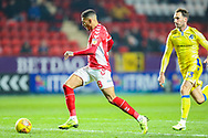 Charlton Athletic forward Karlan Ahearne-Grant (18) heads towards goal and scores during the EFL Sky Bet League 1 match between Charlton Athletic and Bristol Rovers at The Valley, London, England on 24 November 2018.