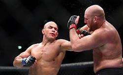 10.04.2016, Arena, Zagreb, CRO, UFC Fight Night, im Bild Ben Rothwell vs. Junior Dos Santos. // during the UFC Fight Night at the Arena in Zagreb, Croatia on 2016/04/10. EXPA Pictures © 2016, PhotoCredit: EXPA/ Pixsell/ Slavko Midzor<br /> <br /> *****ATTENTION - for AUT, SLO, SUI, SWE, ITA, FRA only*****