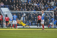 Portsmouth Forward, Omar Bogle (22) misses his penalty during the EFL Sky Bet League 1 match between Portsmouth and Barnsley at Fratton Park, Portsmouth, England on 23 February 2019.