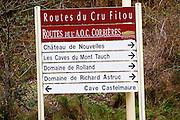 Fitou and Corbieres wine road, Chateau de Nouvelles, caves de Mont Tauch, Domaine Rolland, Domaine de Richard Astruc, Cave Castelmaure. Fitou. Les Corbieres. Languedoc. France. Europe.