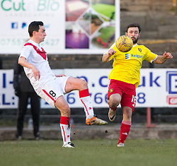 Airdrie's Marc Fitzpatrick and Albion Rover's Gary Fisher. Albion Rover 1 v 2 Airdrie, Scottish League 1 game played 5/11/2016 at Cliftonhill.